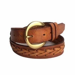 Vintage Braided Leather Belt Brown Distressed 32